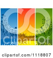 Clipart Of A Background Of Blue Orange And Green Wildflowers And Water Panels Royalty Free Vector Illustration by dero