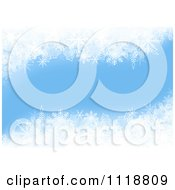 Clipart Of A Light Blue Winter Christmas Background With Snowflakes Royalty Free Vector Illustration