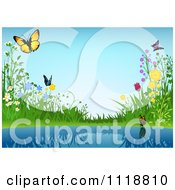 Clipart Of A Background Of Flowers And Butterflies By A Pond Royalty Free Vector Illustration