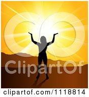 Clipart Of A Silhouetted Spiritual Woman Under An Orange Mountainous Sunset Royalty Free Vector Illustration by dero