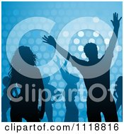 Clipart Of Silhouetted Dancers Over Blue With Dots Royalty Free Vector Illustration