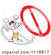 Cartoon Of A Furious Cigarette Protesting Under A Prohibited Symbol Royalty Free Vector Clipart