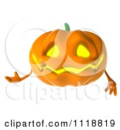 Clipart Of A 3d Halloween Jackolantern Presenting Royalty Free CGI Illustration by Julos