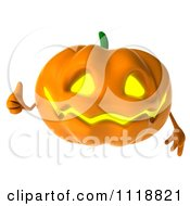 Clipart Of A 3d Halloween Jackolantern Giving A Thumb Up Royalty Free CGI Illustration by Julos