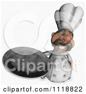 Clipart Of A Sketched Chef Holding Up A Platter Royalty Free Illustration