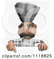 Clipart Of A Sketched Chef Pointing To A Sign 1 Royalty Free Illustration
