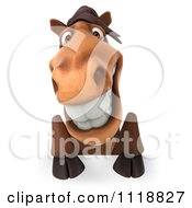 Clipart Of A 3d Happy Horse Smiling Over A Sign Royalty Free CGI Illustration