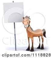 Clipart Of A 3d Happy Horse Standing By A Sign Royalty Free CGI Illustration