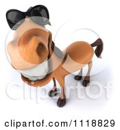 Clipart Of A 3d Happy Horse Wearing Sunglasses And Looking Up Royalty Free CGI Illustration by Julos