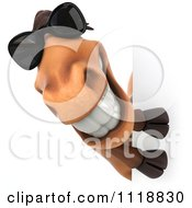 Clipart Of A 3d Happy Horse With Sunglasses Smiling Around A Sign Royalty Free CGI Illustration