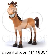 Clipart Of A 3d Happy Horse Royalty Free CGI Illustration