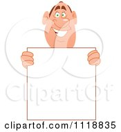 Cartoon Of A Happy Man Holding A Sign Royalty Free Vector Clipart
