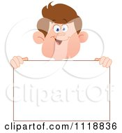 Cartoon Of A Happy Boy Holding A Sign Royalty Free Vector Clipart