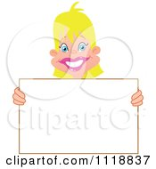 Cartoon Of A Happy Blond Woman Holding A Sign Royalty Free Vector Clipart