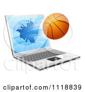 Clipart Of A Basketball Crashing Through A 3d Laptop Screen Royalty Free Vector Illustration