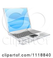 Clipart Of A 3d Laptop With Tile Pieces Royalty Free Vector Illustration