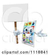 Clipart Of A Happy Touch Screen Cell Phone Holding A Sign Royalty Free Vector Illustration