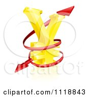 Clipart Of A 3d Golden Yen Currency Symbol With Spiraling Arrows Royalty Free Vector Illustration