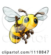 Cartoon Of A Cute Happy Waving Bee Royalty Free Vector Clipart by AtStockIllustration