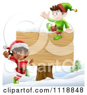 Clipart Of Happy Christmas Elves Jumping By And Sitting On A Sign Royalty Free Vector Illustration
