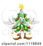Clipart Of A Happy Decorated Christmas Tree Royalty Free Vector Illustration by AtStockIllustration