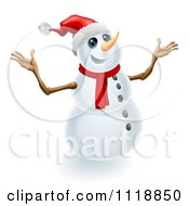 Clipart Of A Jolly Christmas Snowman Holding Up His Arms Royalty Free Vector Illustration by AtStockIllustration