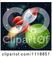 Space Shuttle Rocket Flying In Outer Space Near A Green Planet