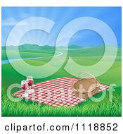 Picnic Blanket And Basket With Red Wine In A Hilly Spring Landscape With A River And Sunshine