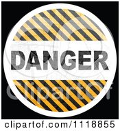 Clipart Of A Round Danger Hazard Stripes Icon On Black Royalty Free Vector Illustration