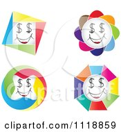 Clipart Of Colorful Happy Dollar Eye Faces Royalty Free Vector Illustration by Andrei Marincas