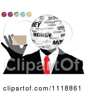 Money Head Businessman Holding A Business Card With Other Globe Colors