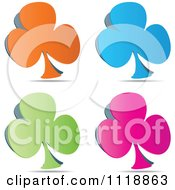 Clipart Of Orange Blue Green And Pink Clover Icons Royalty Free Vector Illustration