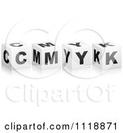 Clipart Of 3d Black And White CMYK Boxes With A Reflection Royalty Free Vector Illustration