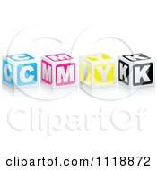 Clipart Of 3d CMYK Boxes With A Reflection Royalty Free Vector Illustration