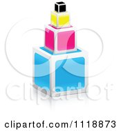 Clipart Of A 3d Stacked CMYK Cubes Royalty Free Vector Illustration