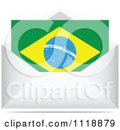 Clipart Of A Brazilian Letter In An Envelope Royalty Free Vector Illustration