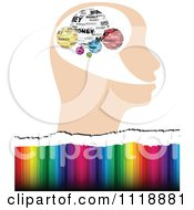 Clipart Of A Profiled Head With Money Globes Over Colors Royalty Free Vector Illustration by Andrei Marincas