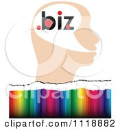 Clipart Of A Profiled Head With Dot Biz Over Colors Royalty Free Vector Illustration by Andrei Marincas