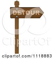 Clipart Of A Wooden Arrow Detour Sign Royalty Free Vector Illustration by Andrei Marincas