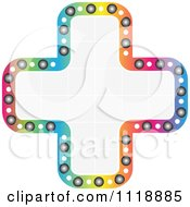 Clipart Of A Colorful Outlined Cross With A Grid Pattern Royalty Free Vector Illustration