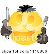 Clipart Of A Happy Cheese Ball Face Holding Silverware Royalty Free Vector Illustration