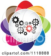 Clipart Of A Colorful Gear Icon Royalty Free Vector Illustration by Andrei Marincas