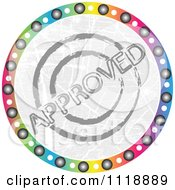 Clipart Of A Round Colorful Approved Icon Royalty Free Vector Illustration