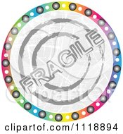 Clipart Of A Round Colorful Fragile Icon Royalty Free Vector Illustration
