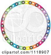 Clipart Of A Round Colorful Icon With Grunge Copyspace Royalty Free Vector Illustration