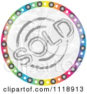 Clipart Of A Round Colorful Sold Icon Royalty Free Vector Illustration