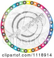 Clipart Of A Round Colorful Top Secret Icon Royalty Free Vector Illustration