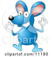Happy Blue Mouse Wearing Gloves And Doing Jazz Hands