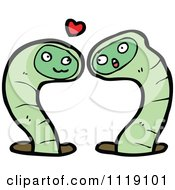 Cartoon Green Earth Worm Pair In Love Royalty Free Vector Clipart