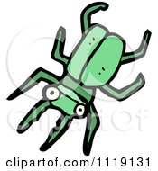 Cartoon Of A Green Stag Beetle 4 Royalty Free Vector Clipart by lineartestpilot